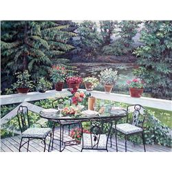 Peter Ho, Back Porch, Signed Oil on Canvas