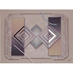 Luis Mazorra, Elapsed Time II, Signed Etching & Collage