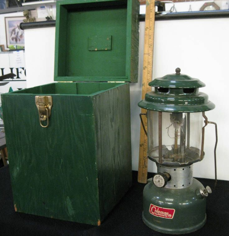 Coleman Kerosene Lantern W/Wood Box Carrier