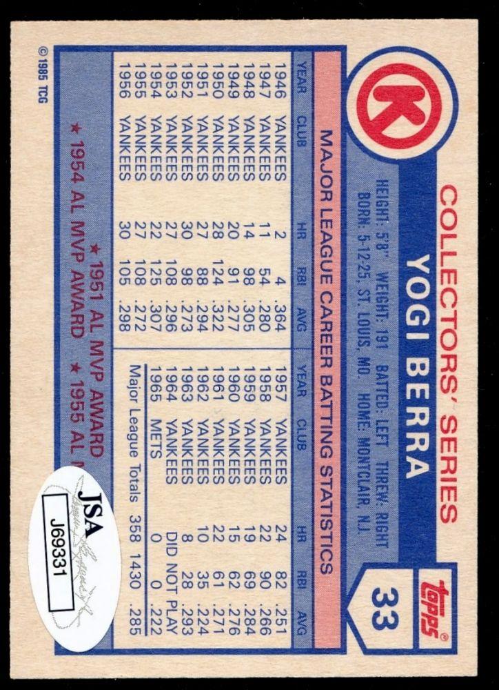 Yogi Berra Signed Yankees 1985 Circle K Baseball Card (JSA)