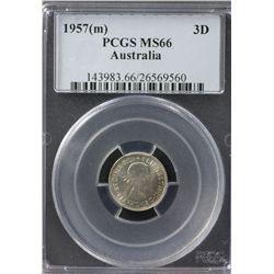 1957(m) Threepence PCGS MS66