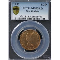 1956 New Zealand ½ Penny PCGS MS65RD