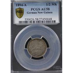 1894-A German New Guinea ½ Mark PCGS AU58