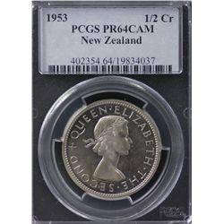 1953 New Zealand ½ Crown PCGS PR64DCAM