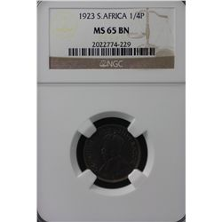 1923 South Africa ¼ Penny NGC PR65BN