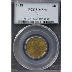 1958 Fiji Threepence PCGS MS65