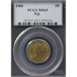 1960 Fiji Threepence PCGS MS65