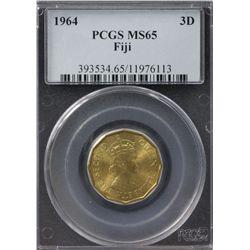 1964 Fiji Threepence PCGS MS65