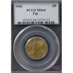1965 Fiji Threepence PCGS MS64