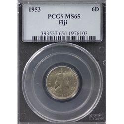 1953 Fiji Sixpence PCGS MS65