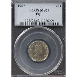 1967 Fiji Sixpence PCGS MS67