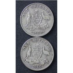 Shillings 1933 Vg, 1915 Vg Scarce