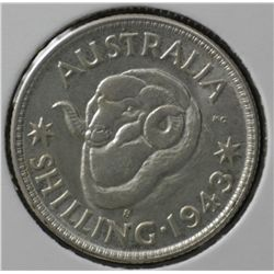 1943s Shilling Choice Unc (MS64 or better) 4 coins
