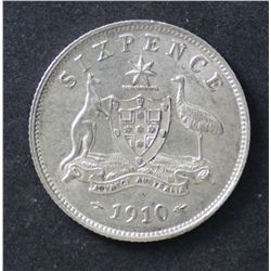 1910 Sixpence, Nearly Uncirculated