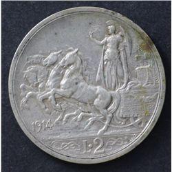 Italy 2 lire 1914 VF