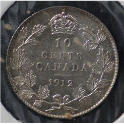 Canada 10C 1912 Flashy AU55