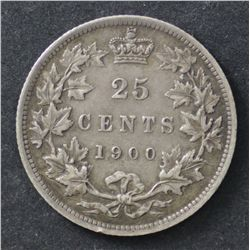 Canada 25c 1900 Good VF and attractive