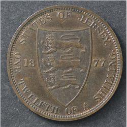 Jersey 1877 Penny, EF HP 1909 EF, Penny 1931 UNC