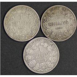 South Africa ZAR Shillings 1895,1896,1897 VF