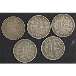 South Africa ZAR Sixpences1892, 1893(2), 1894,1895 VF