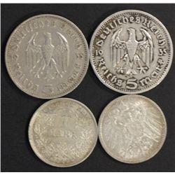 Germany 1 Mark  1914 Unc (2), 5 Mark (2) gvf