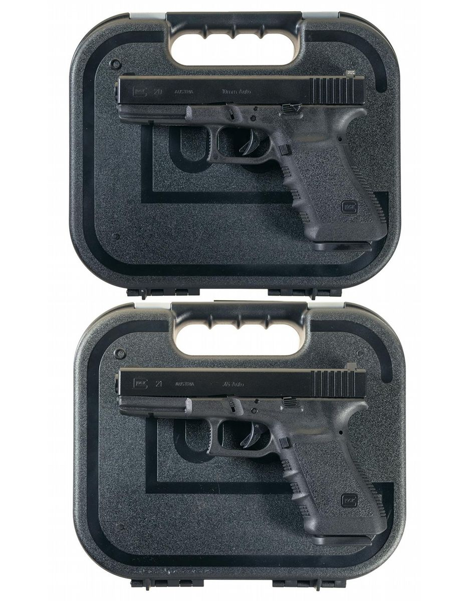 Two Glock Semi-Automatic Pistols with Cases -A) Glock 20 10mm  Semi-Automatic Pistol