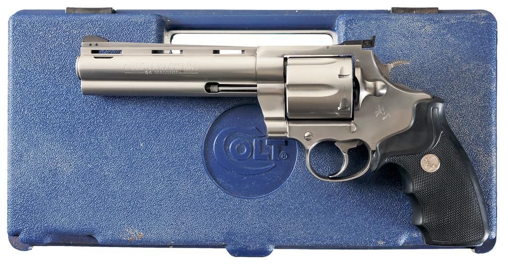 Stainless Colt Anaconda Double Action Revolver with Case