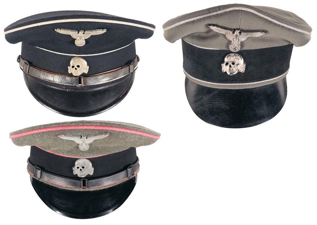 1a5fb4fb133 Image 1   Three SS Style Visor Caps Including an Allgemine-SS Service Cap