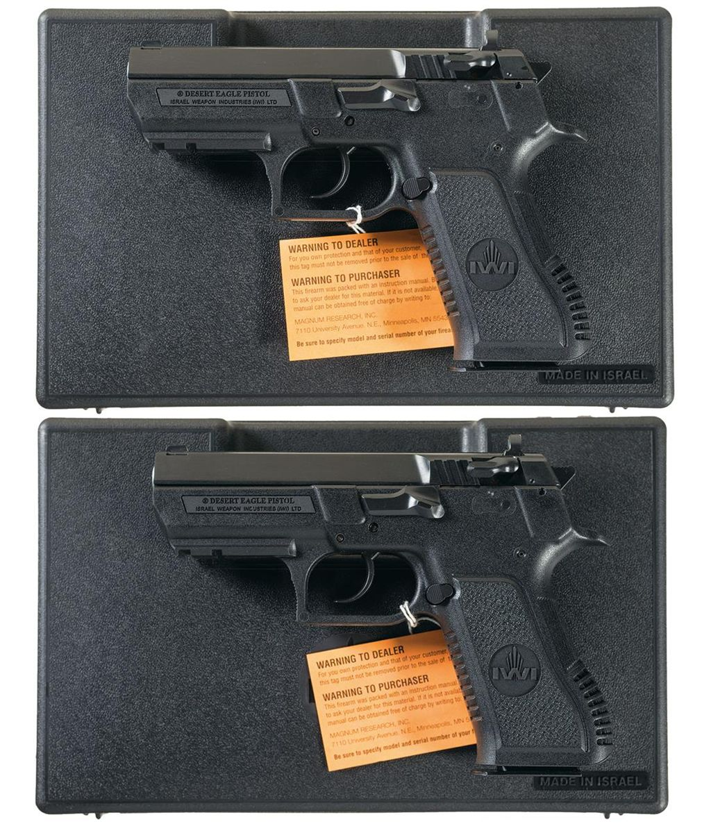 Two Magnum Desert Eagle Semi-Automatic Pistols with Cases -A) Research  Desert Eagle Baby Eagle 40 Se