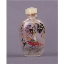 Antique Chinese glass snuff bottle hand painted from