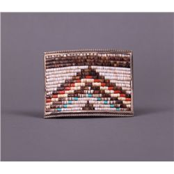 Early to mid 1900's Native American beaded silver belt