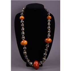 Antique Amber Bead necklace. (Size: See last photo for
