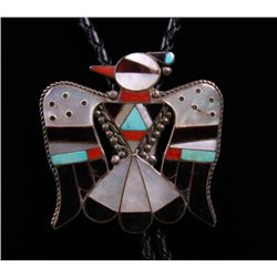 Zuni Native American Bola tie made with silver, inlaid