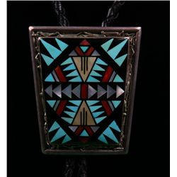 Zuni Native American Bola tie made with silver with