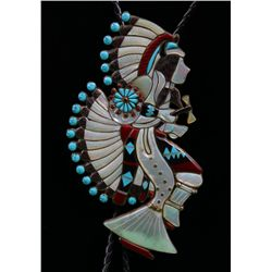 Zuni Native American Bola tie with silver and inlaid