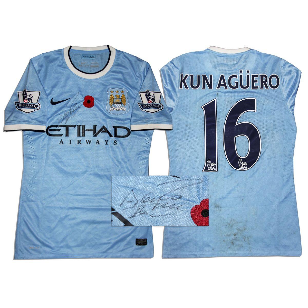 quality design 73b30 eea92 Aguero Match Worn Manchester City Shirt Signed