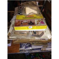 lot of wooden doll furniture and house kits