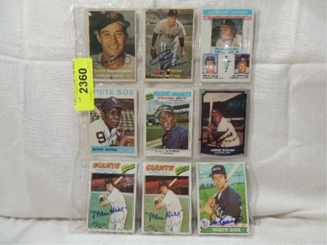 9 Card Lot Autographed Baseball Cards