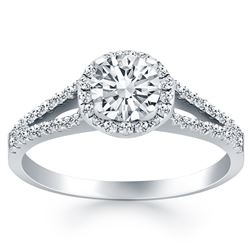 14K White Gold Diamond Halo Split Shank Engagement Ring