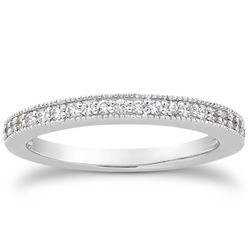 14K White Gold Pave Diamond Milgrain Wedding Ring Band Set 1/2 Around