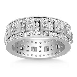 14K White Gold Princess and Round Cut Diamond Eternity Ring