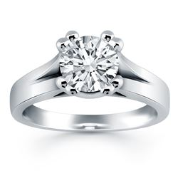 14K White Gold Double Prong Split Shank Cathedral Engagement Ring