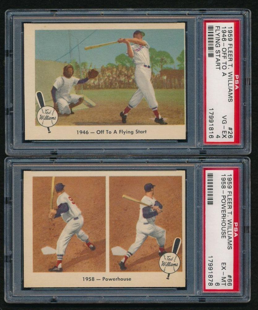 Lot Of 4 Graded 1959 Fleer Ted Williams Baseball Cards Psa