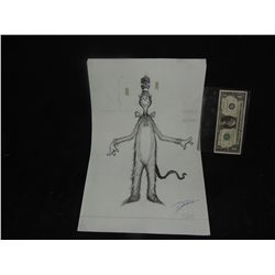 CAT IN THE HAT CONCEPT SKETCH HAND DRAWN & SIGNED ORIGINAL FROM PRODUCTION 1