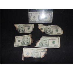 BATMAN THE DARK KNIGHT BURNT MONEY WAD OF FIVE $100.00 BILLS
