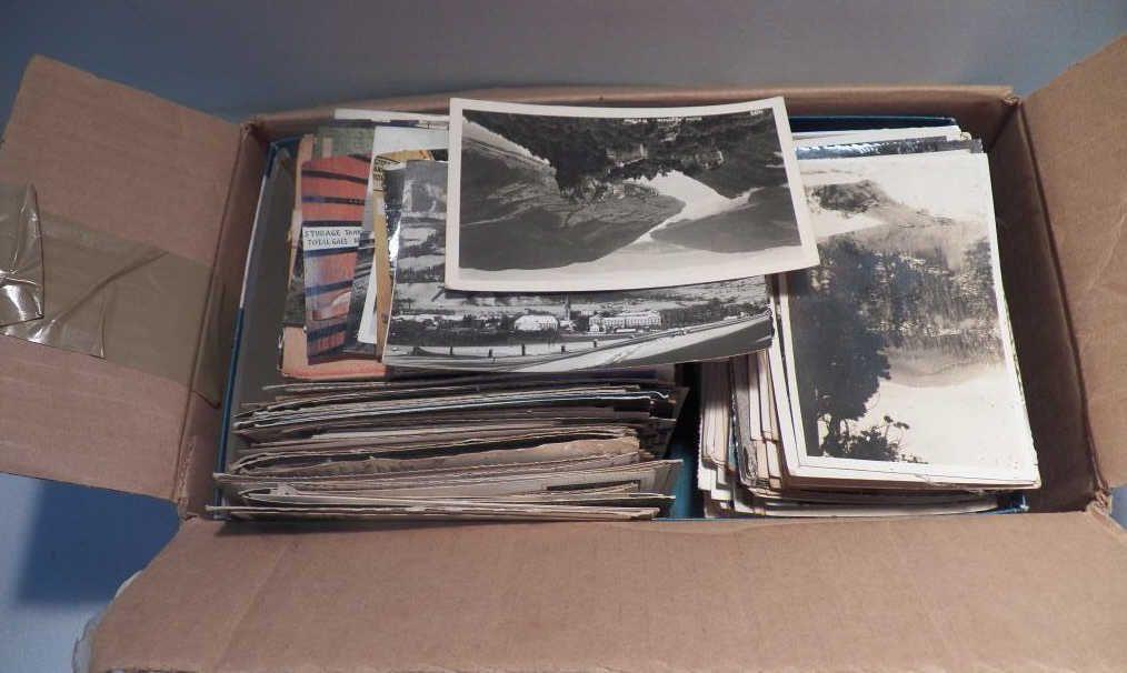 Shoe Box of Vintage Postcards
