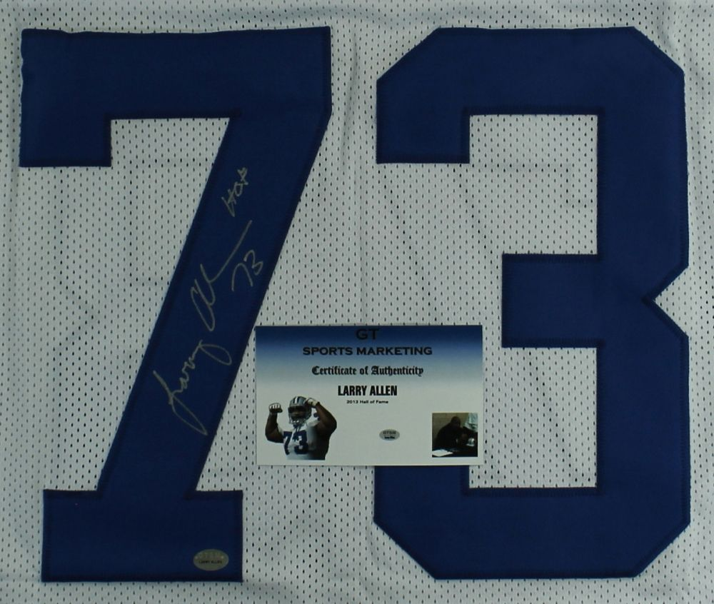 reputable site 96658 ddd5a Larry Allen Signed Cowboys Jersey Inscribed