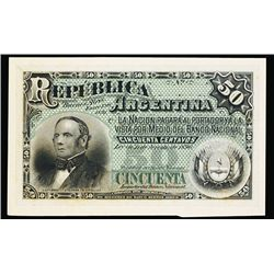Republica Argentina, 1891 Issue Unlisted Color Trial Proof Banknote.