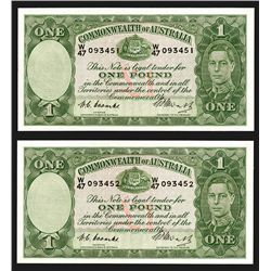 Commonwealth of Australia, ND (1949) Consecutive Pair .