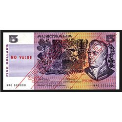 Commonwealth of Australia, Reserve Bank, ND (1974) Issue $5 Specimen Banknote.